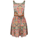 Paisley Print Belted Pleat Dress